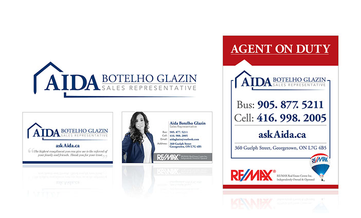 Aida Botelho Glazin logo, business card and for sale sign