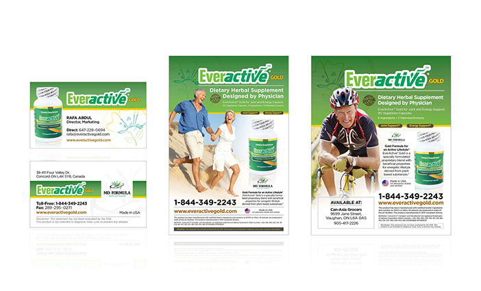 Everactive Canada business card, flyer and poster