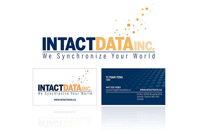 Intact Data logo and business card